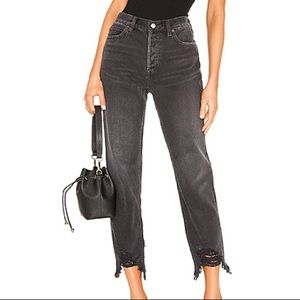 Free People Chewed Up Mid Rise Straight Jeans 27